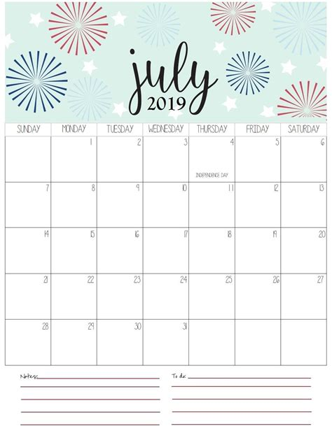 july monthly calendar  printable calendar july