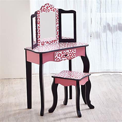 toddler vanity table teamson pink leopard print fashion prints vanity