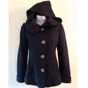 Black Hooded Pea Coat Women