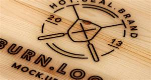 Wood Burning Logo Mock-Up Template Psd Mock Up Templates