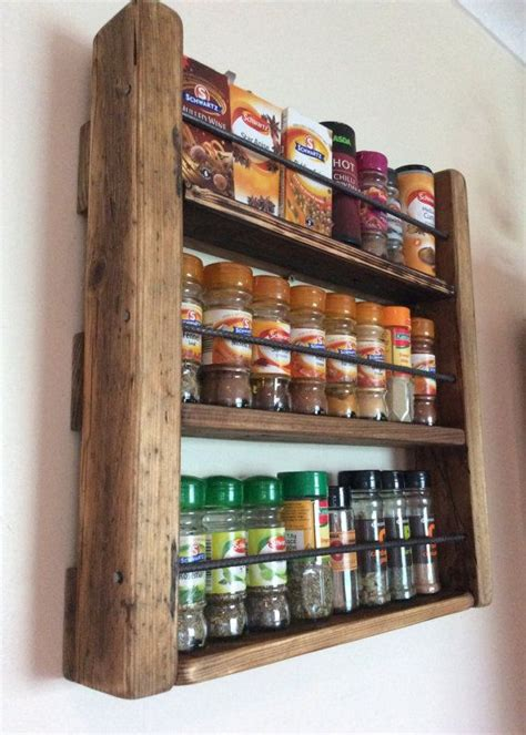 Spice Rack And Spices by Spice Rack Wooden Spicerack Kitchen Storage Rustic