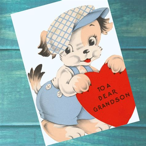 """Check spelling or type a new query. Grandson Dog Valentine Card 5""""x7""""- Instant Download with Valentine Message 1950s Puppy Boy Card ..."""