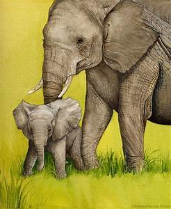 Mother and Baby Elephant Painting mounted print of original