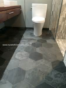 rustic bathroom ideas large slate hexagon tiled floor