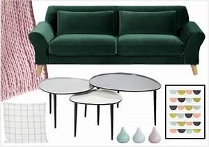 variations deco autour d39un canape vert fonce joli place With tapis yoga avec ampm canapé velours