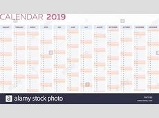 Business planner calendar vector template for 2019 year