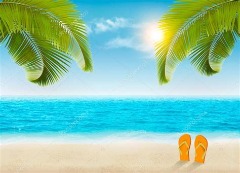 Vacation Background Images by Vacation Background With Palm Trees And Blue Sea