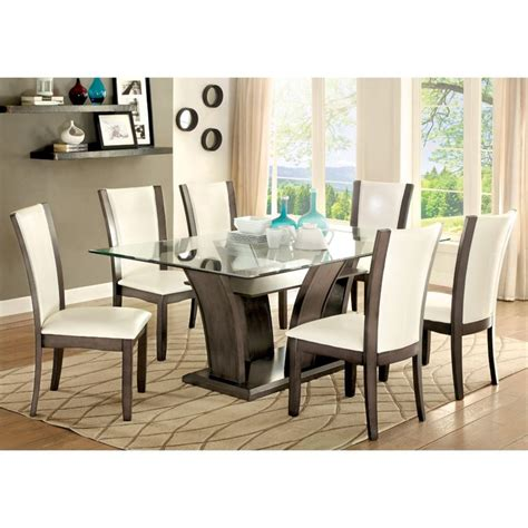 Furniture Of America Sson 7 Dining Set In Gray