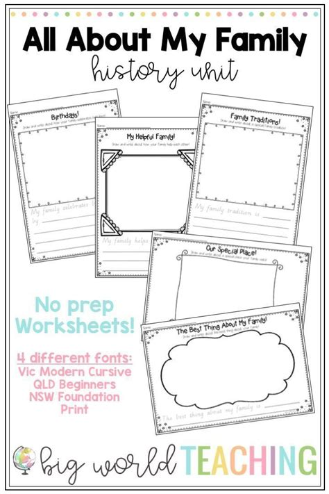 family unit worksheets family tree pack