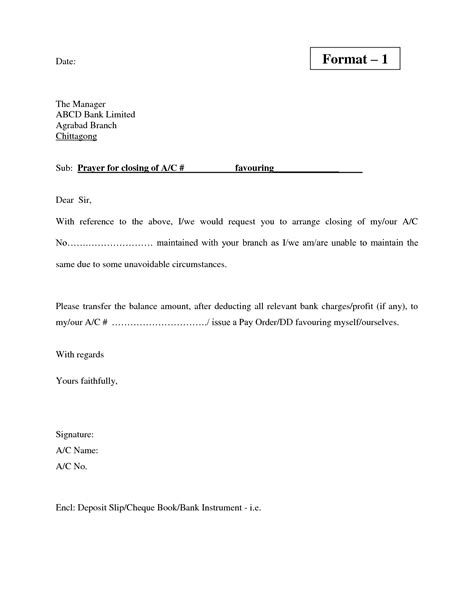 preview full letter writing format  bank account