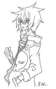 Anime Boy Line Art