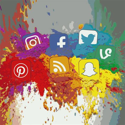 Digital Social Media Wallpaper by Social Media Icons Color Splash Montage Square All
