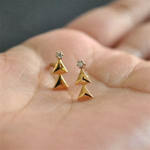 Studs Tiny Christmas Tree Earrings 14K yellow gold and natural