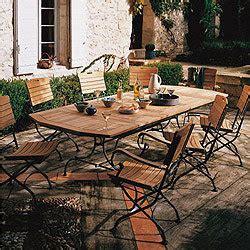 salon de jardin en teck et fer forg 233 avec table rectangulaire 4 chaises et 2 fauteuils