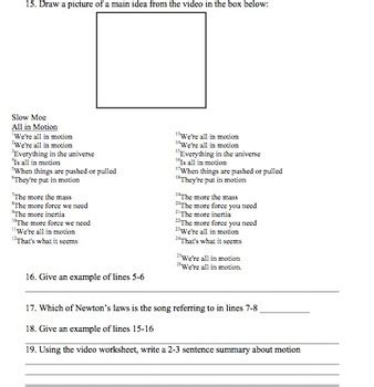 bill nye motion video worksheet  mayberry  montana tpt