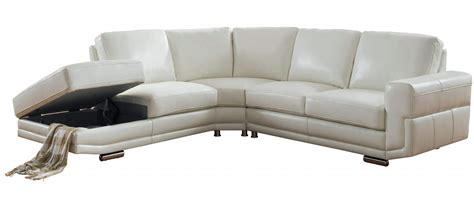 cecile full top grain ivory white leather sectional