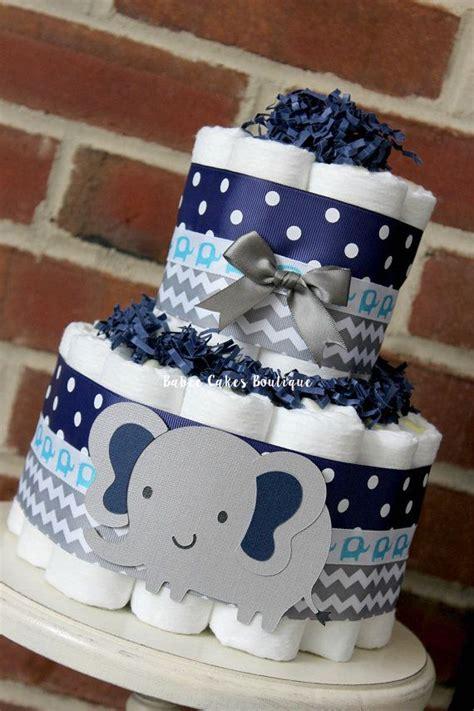 tier gray  navy blue elephant diaper cake elephant