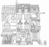 Drawing Line Dutch Townhouses Coloring Pages Drawings Deviantart Adult Building Sketch Houses Buildings Colouring Books Inside Fall Groups Traditional sketch template