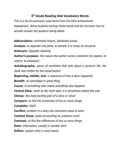 15 Best Images Of 5th Grade Reading Vocabulary Worksheets  5th Grade Vocabulary Worksheets, 5th