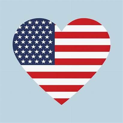 Flag Heart American Shape Vector Shaped Usa