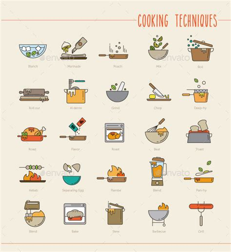 cuisine techniques cooking techniques icons by sooodesign graphicriver