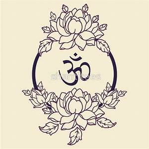 """Om Symbol in Lotus flower Mandala (Line Version)"" T ..."