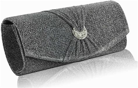 Wholesale Grey Diamante Evening Clutch Bag