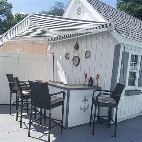 aleko motorized retractable garden patio awning    ft grey white striped ebay