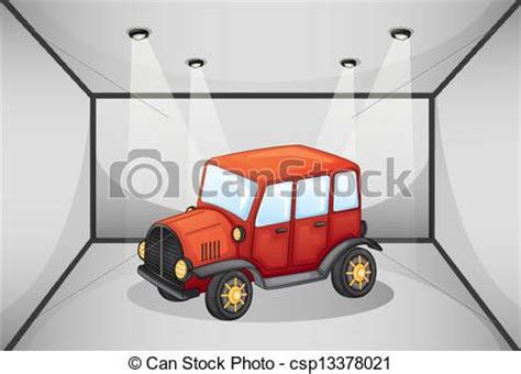 red jeep clipart vector illustration of a red jeep inside the garage