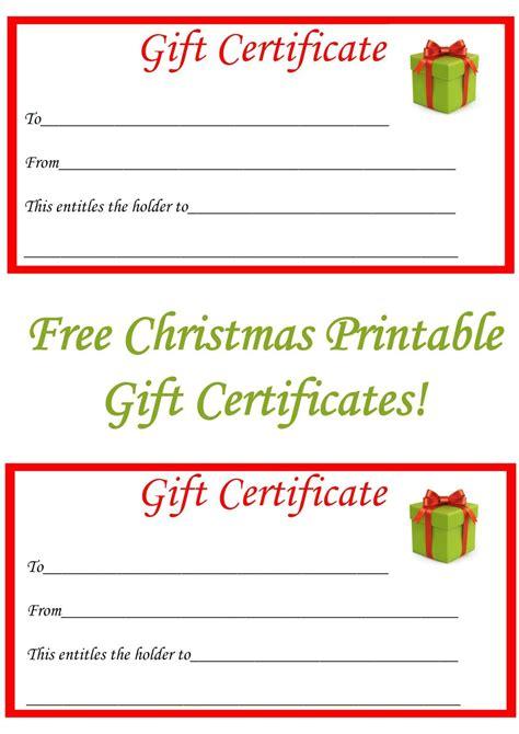 christmas printable gift certificates christmas