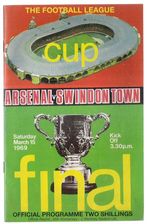 ARSENAL V SWINDON TOWN league cup final football programme ...