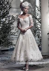 off the shoulder romantic lace v neck tea length a line With medium length wedding dresses