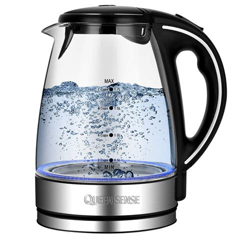 kettle electric tea glass water food grade rated kettles boil borosilicate fast teakettle 1500w pint heating shutoff protection automatic dry