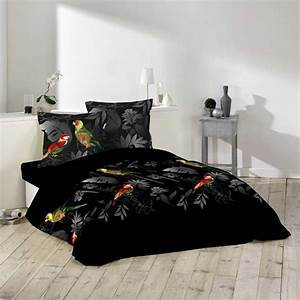 Parure De Lit Noir : parure de lit 3 pi ces 220x240cm perroquet noir 220x240cm ~ Melissatoandfro.com Idées de Décoration