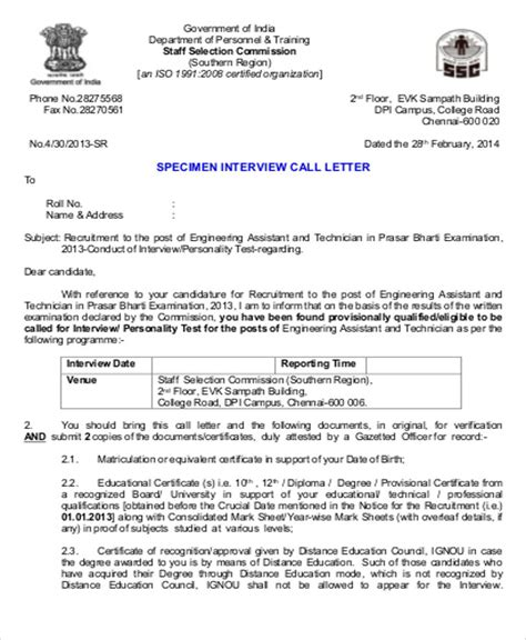 sample formal interview letter  examples  word