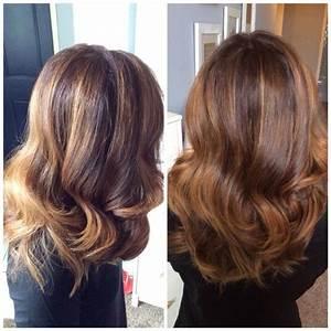 Chocolate brown with caramel highlights. Balayage, curls ...