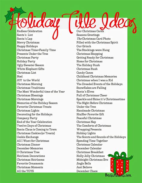 Becki Adams: 76 Holiday Page Title Ideas