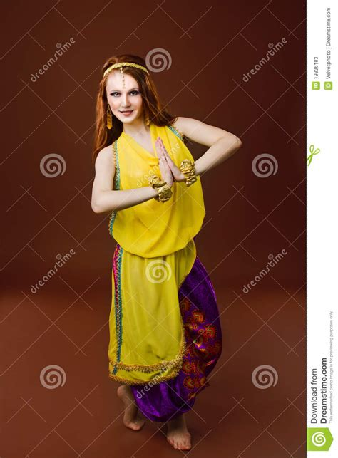 white girl  indian clothes stock  image