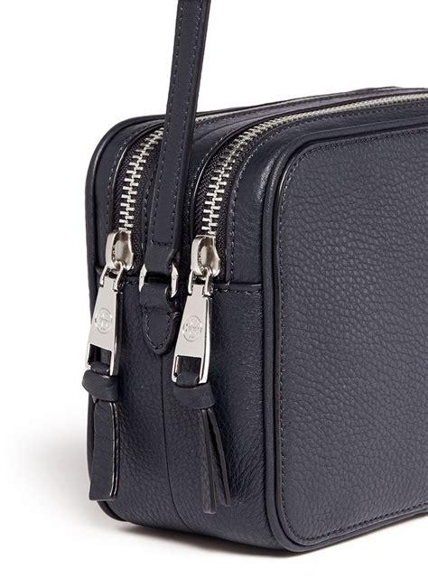 tory burch robinson double zip leather crossbody bag  blue lyst