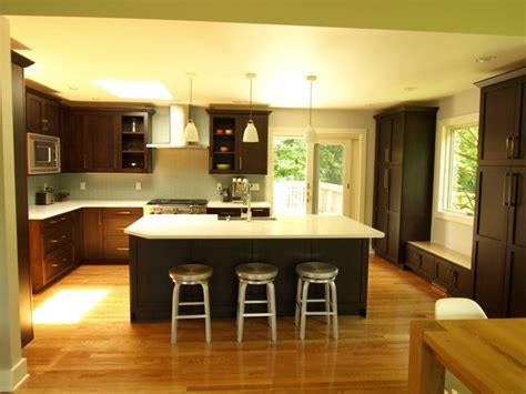 open concept oversized island transitional kitchen