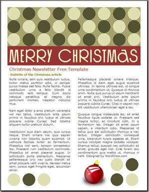 holiday newsletter worddraw free newsletter templates