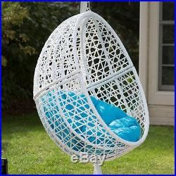hanging egg chair resin wicker white blue cushion patio