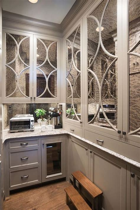 antiqued mirrored eclipse butler pantry cabinets