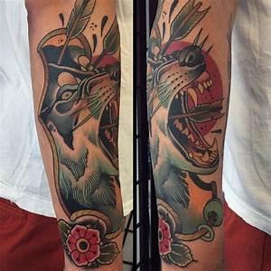 Arrow Shot Wolf New School Tattoo | New School tattoo ...