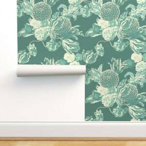 Peel and Stick Removable Wallpaper Teal Blue Floral