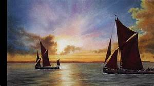 thames barges at dusk pastel pencil lesson