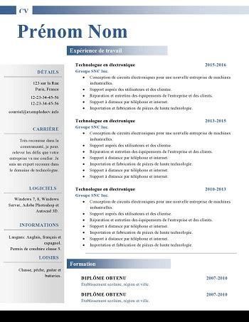 Modele Cv Sous Word by Modele De Cv Word 2015
