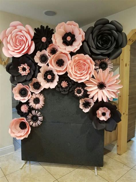 Perfect for your dining room, kitchen, or the kids' bedroom. pink and black backdrop   Giant paper flowers diy, Giant paper flowers, Paper flowers diy