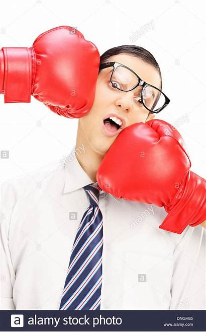 Boxing Punched Glasses Gloves Young Alamy