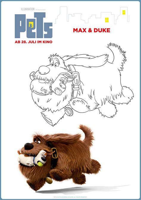 kostenlose malvorlage pets pets max duke zum ausmalen